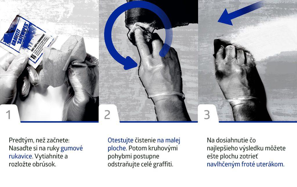 Inštrukcie ako na odstránenie graffiti.